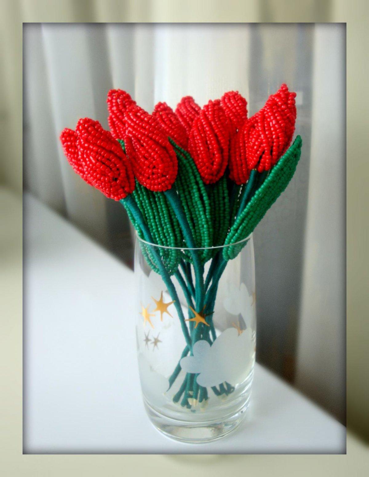 Тюльпан из бисера мастер класс с пошаговым фото