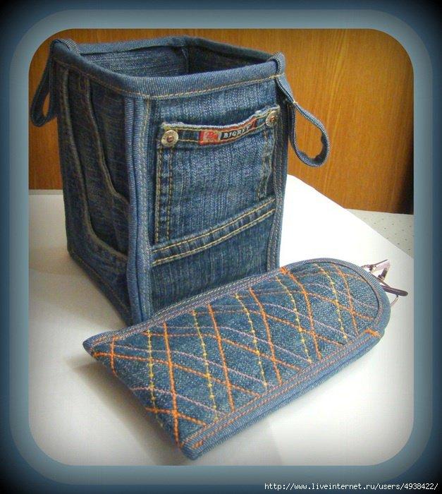 Сшить чехол для швейной машинки из старых джинсов 72