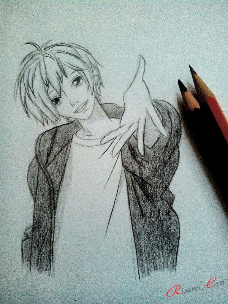Рисунок карандашом парня из аниме