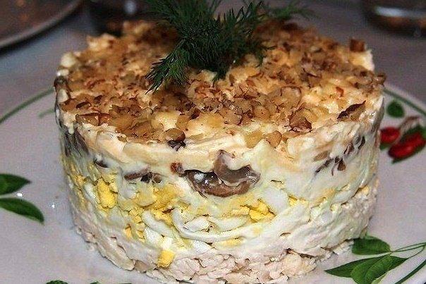 Салат с курицей и грибами орехами слоями рецепт с 2