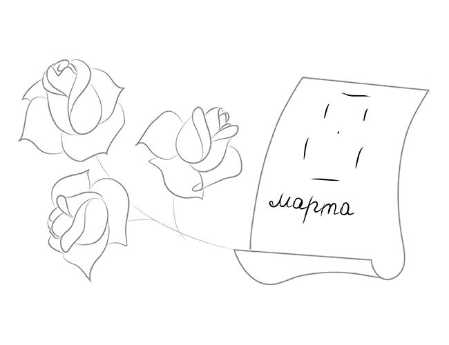 Как нарисовать открытку с розой 35