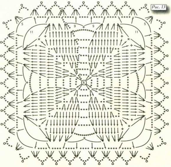 Вязание крючком квадрат схемы и описание 33