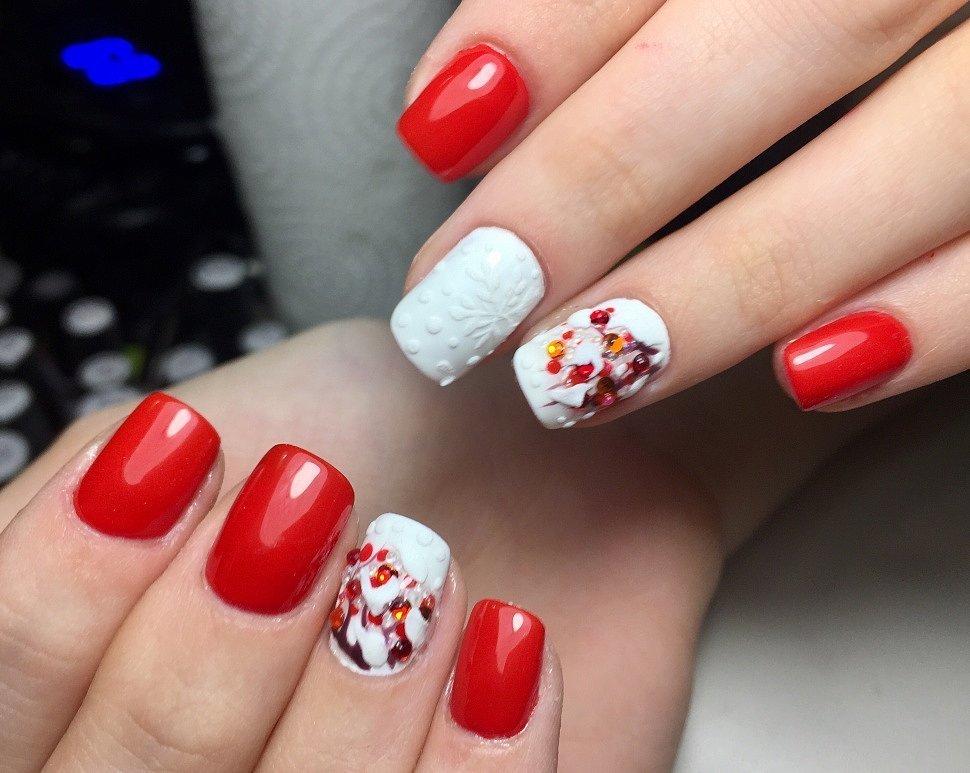 Шеллак Красный Дизайн С Рябиной