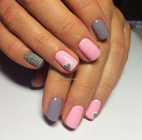 Шеллак Серый С Розовым Дизайн Фото