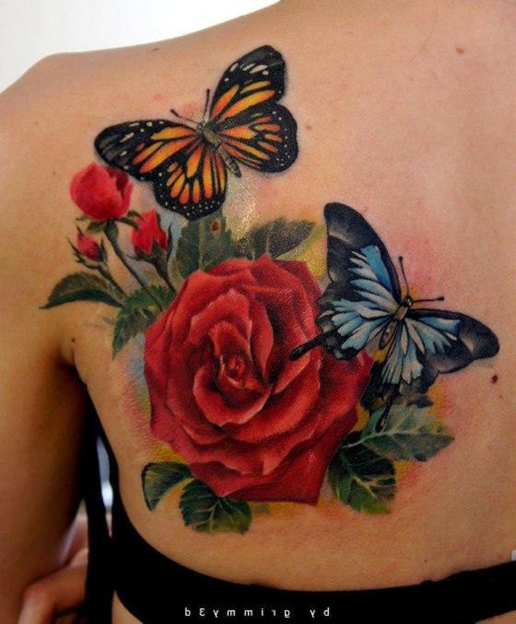 Фото тату роза и бабочка