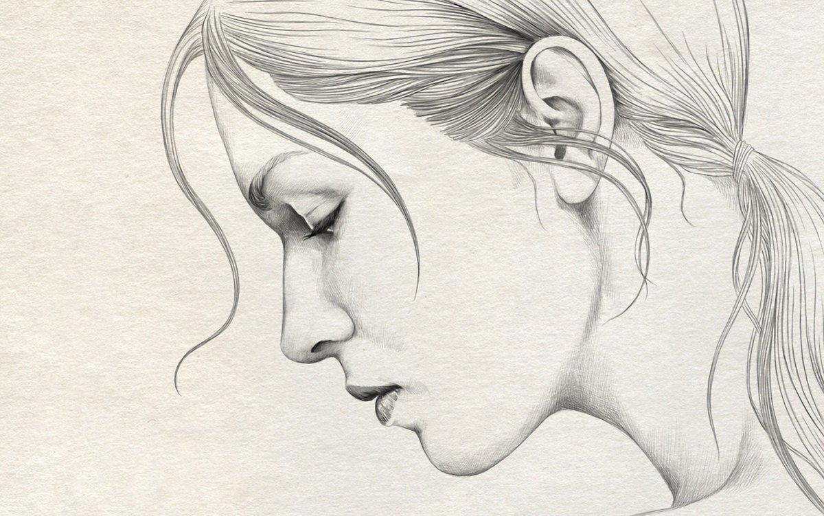Рисунок девушка в профиль карандашом