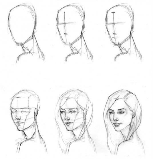 Рисование лица человека поэтапно карандашом для начинающих