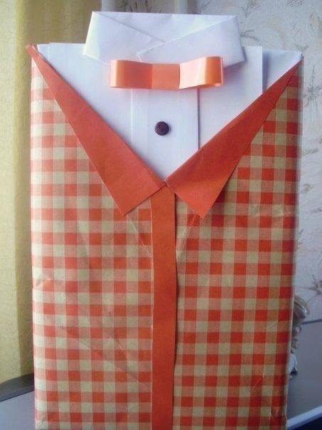 Как завернуть подарок мужчине в виде рубашки 89