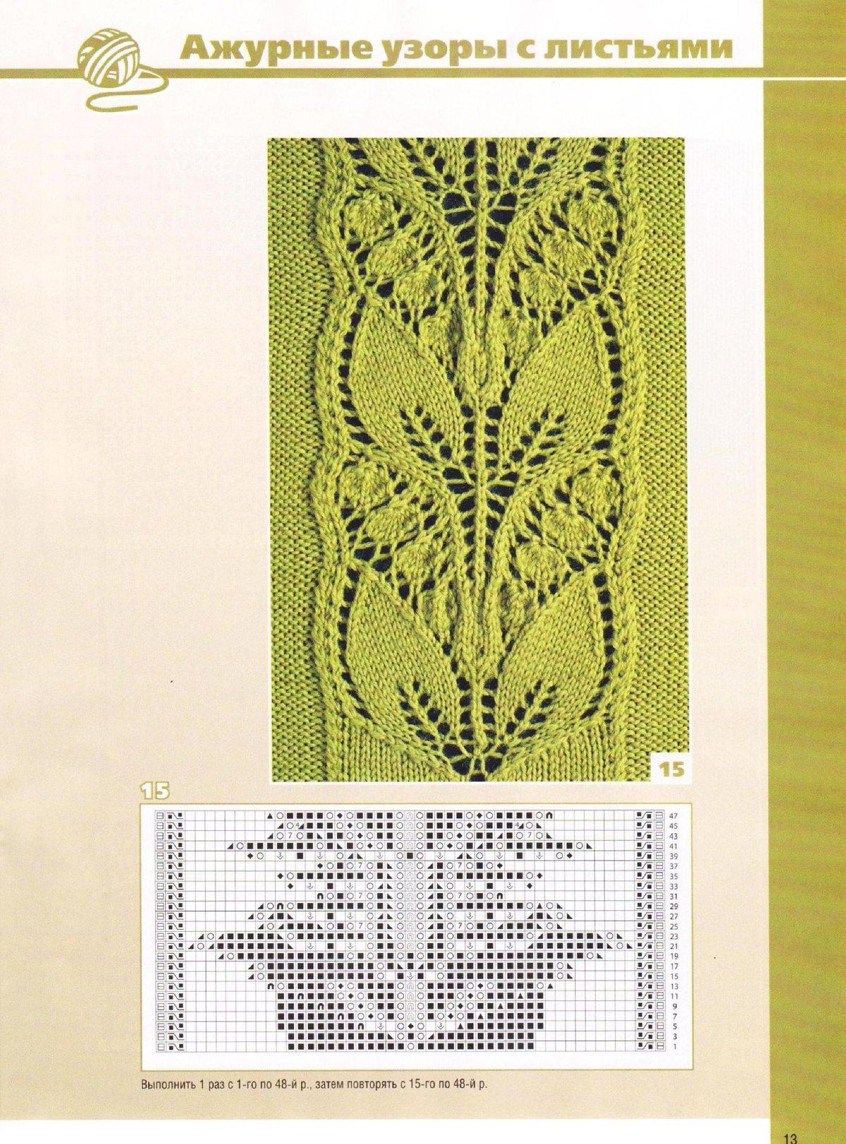 Схемы вязания спицами c ажурными узорами на 66