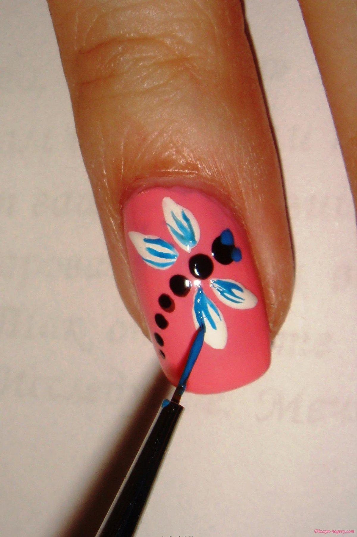 Рисунок на ногтях в домашних условиях для начинающих фото схемы