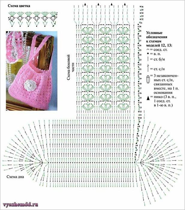 Крючок. схема вязания сумки 839