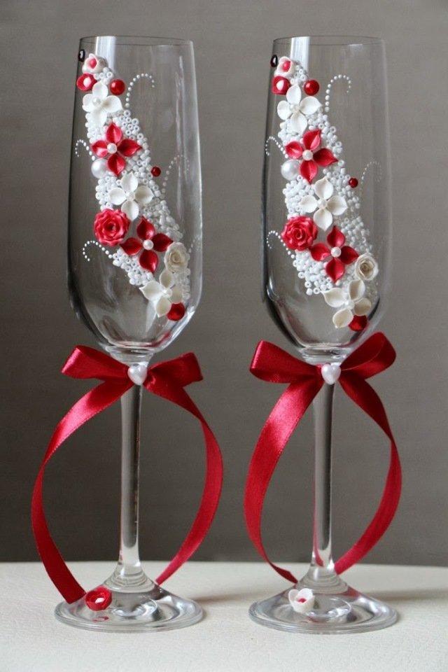 Бокалы на свадьбу в красно-белом цвете своими руками 66