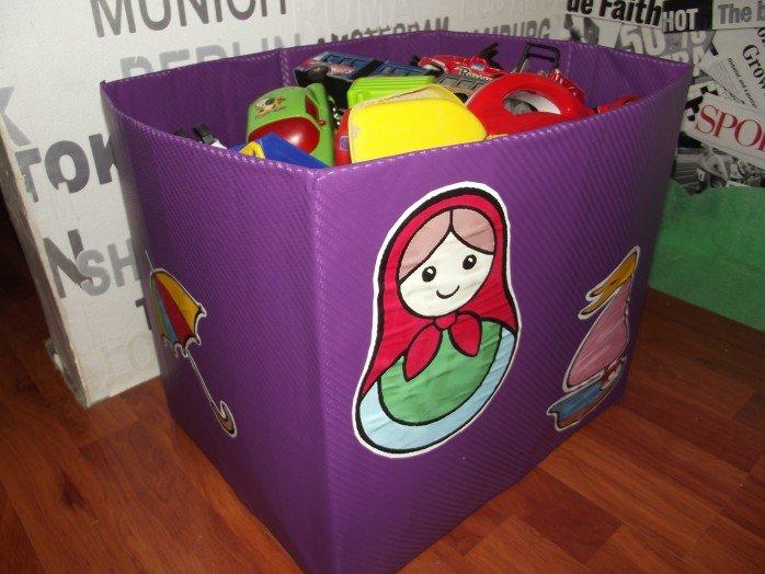 Корзина для игрушек своими руками из картонной коробки 76