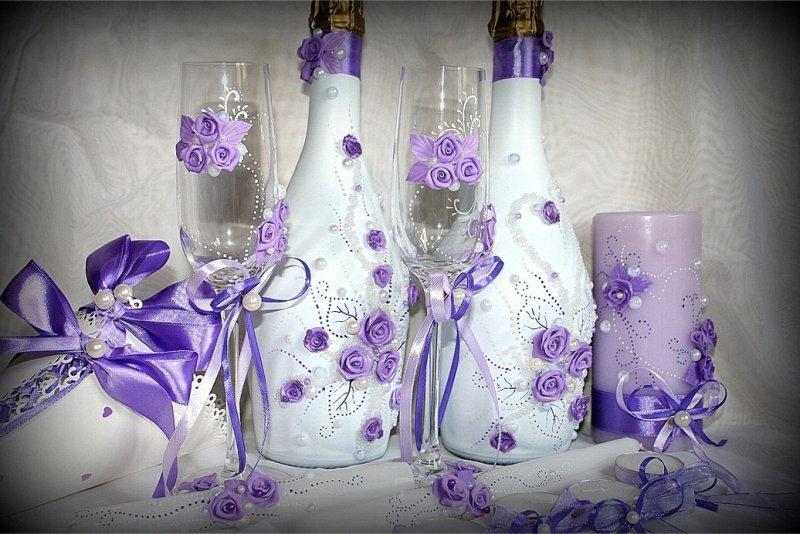 Как украсить шампанское и фужеры на свадьбу своими руками 47