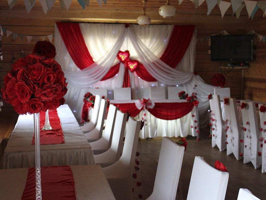 Украшения зала на свадьбу своими руками в красном цвете 70