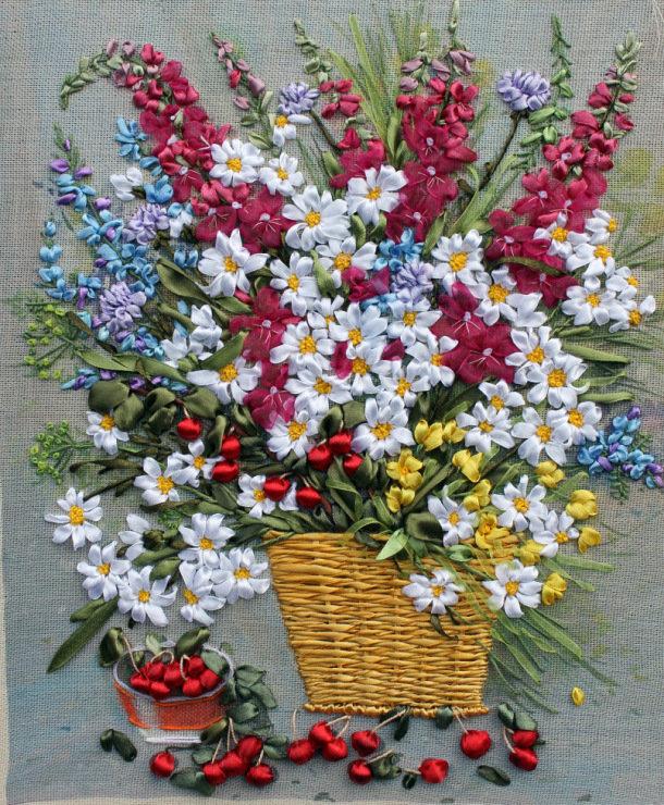 Вышивка атласными лентами не цветы 663