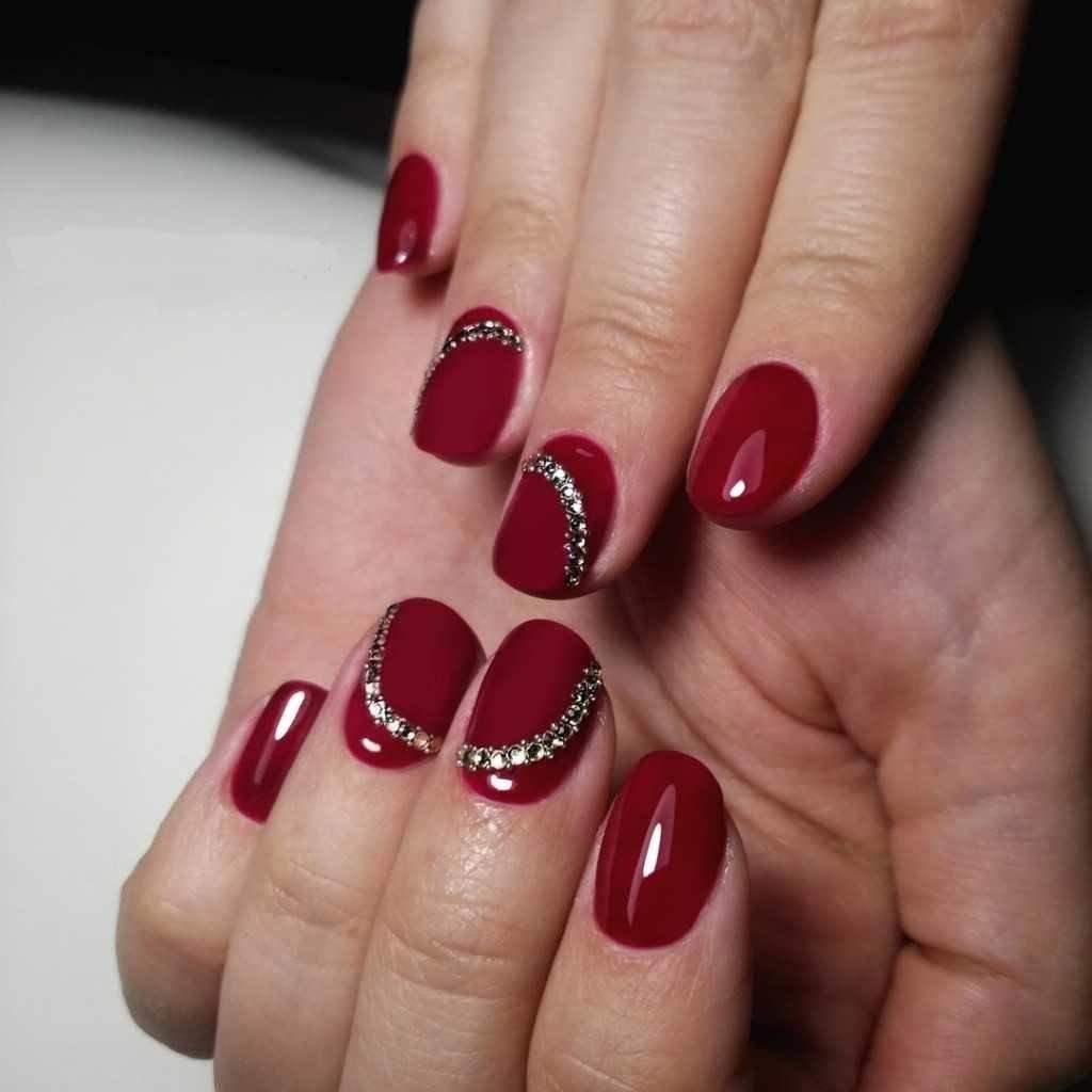 Фото френча на ногтях 2018 бордовый
