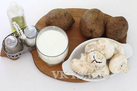 Картофель с шампиньонами со сливками в духовке ингредиенты