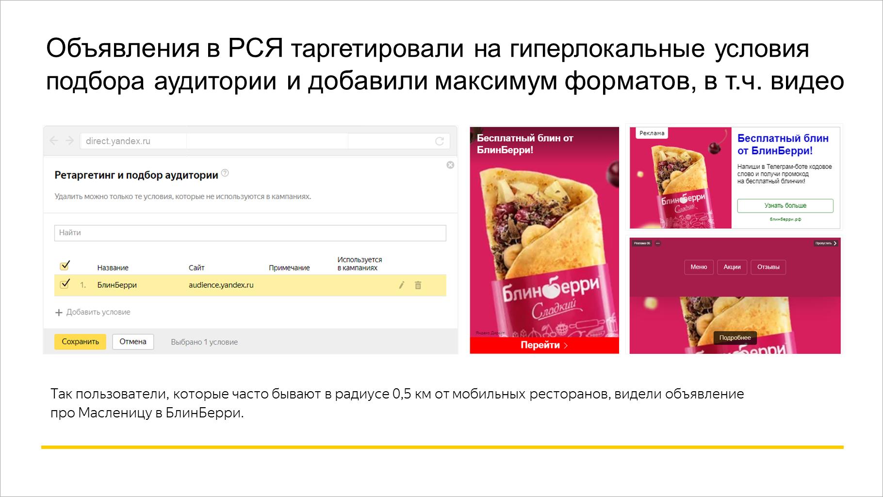 Объявления в РСЯ таргетировали на гиперлокальные условия подбора аудитории и добавили максимум форматов, в т.ч. видео