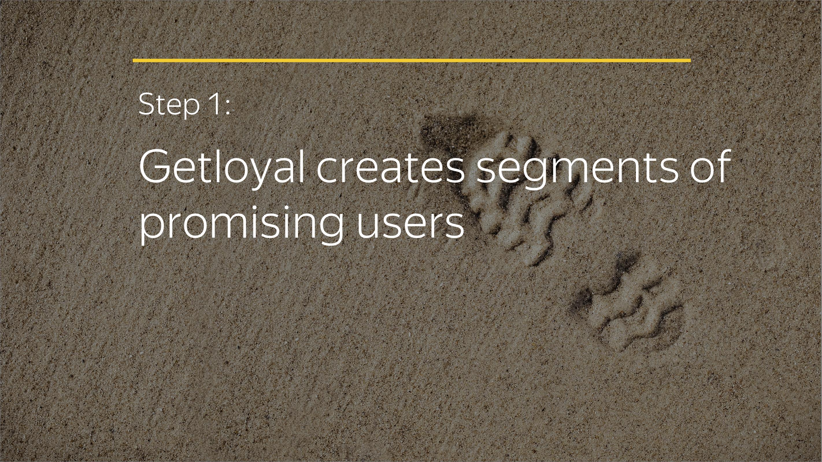 Step 1: Getloyal creates segments of promising users