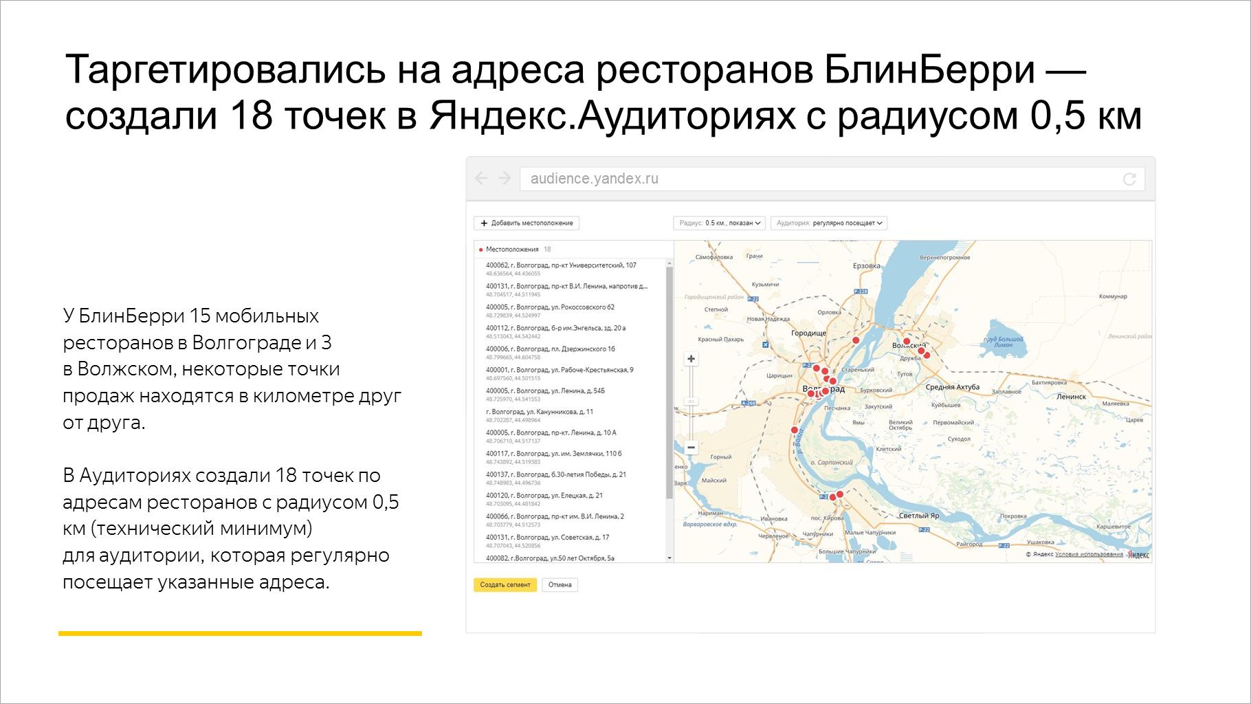 Таргетировались на точки продаж БлинБерри — создали 18 геосегментов в Яндекс.Аудиториях с радиусом 0,5 км