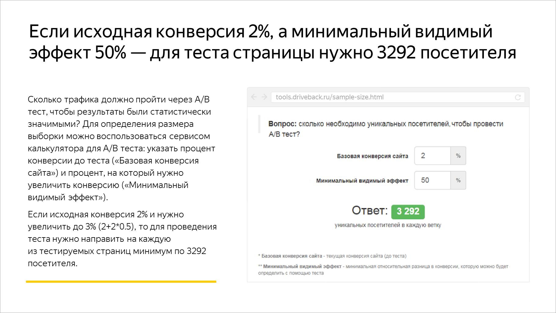 Если исходная конверсия 2%, а минимальный видимый эффект 50% — для теста страницы нужно 3292 посетителя