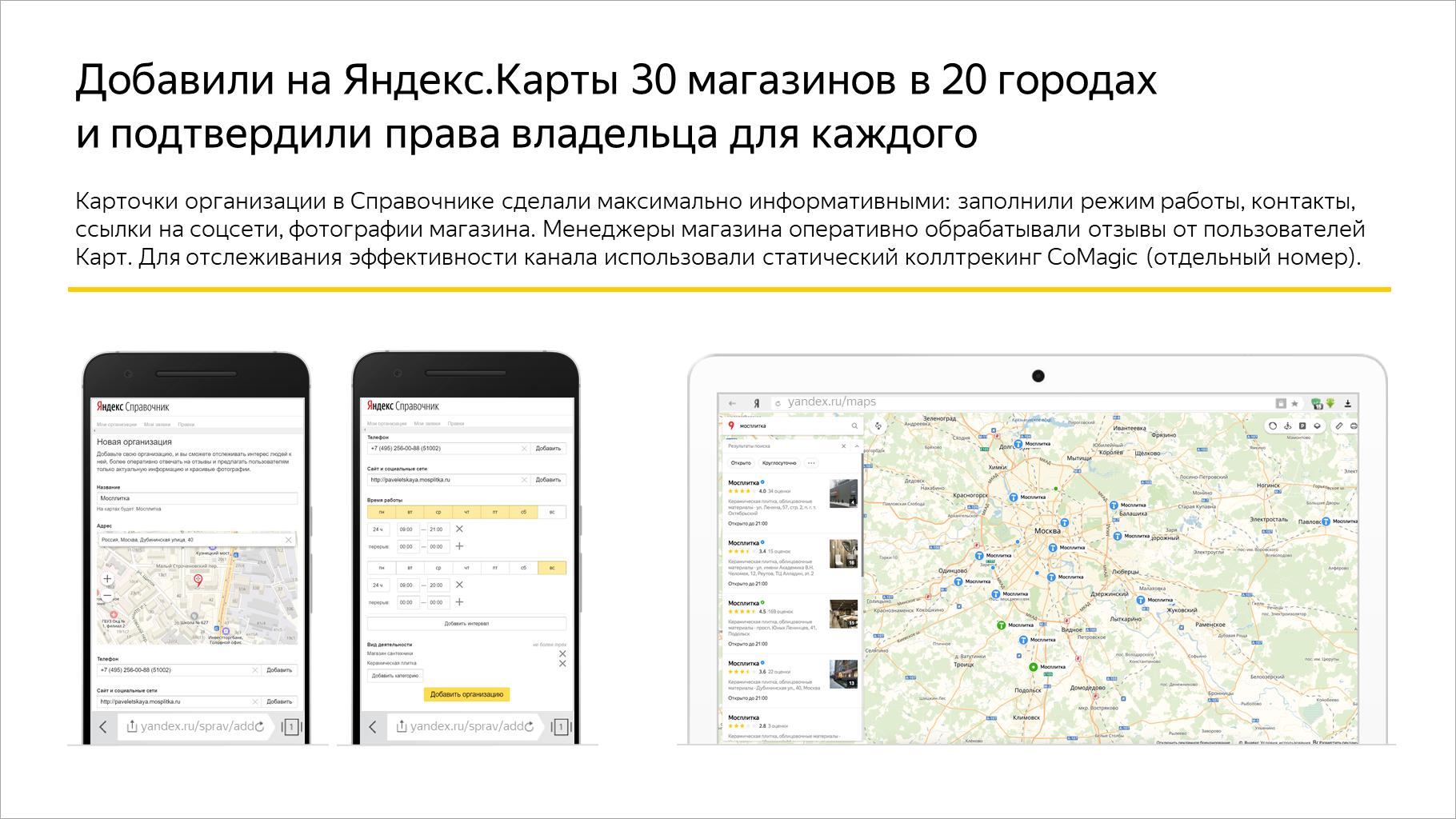 Добавили на Яндекс.Карты 30 магазинов в 20 городах и подтвердили права владельца для каждого