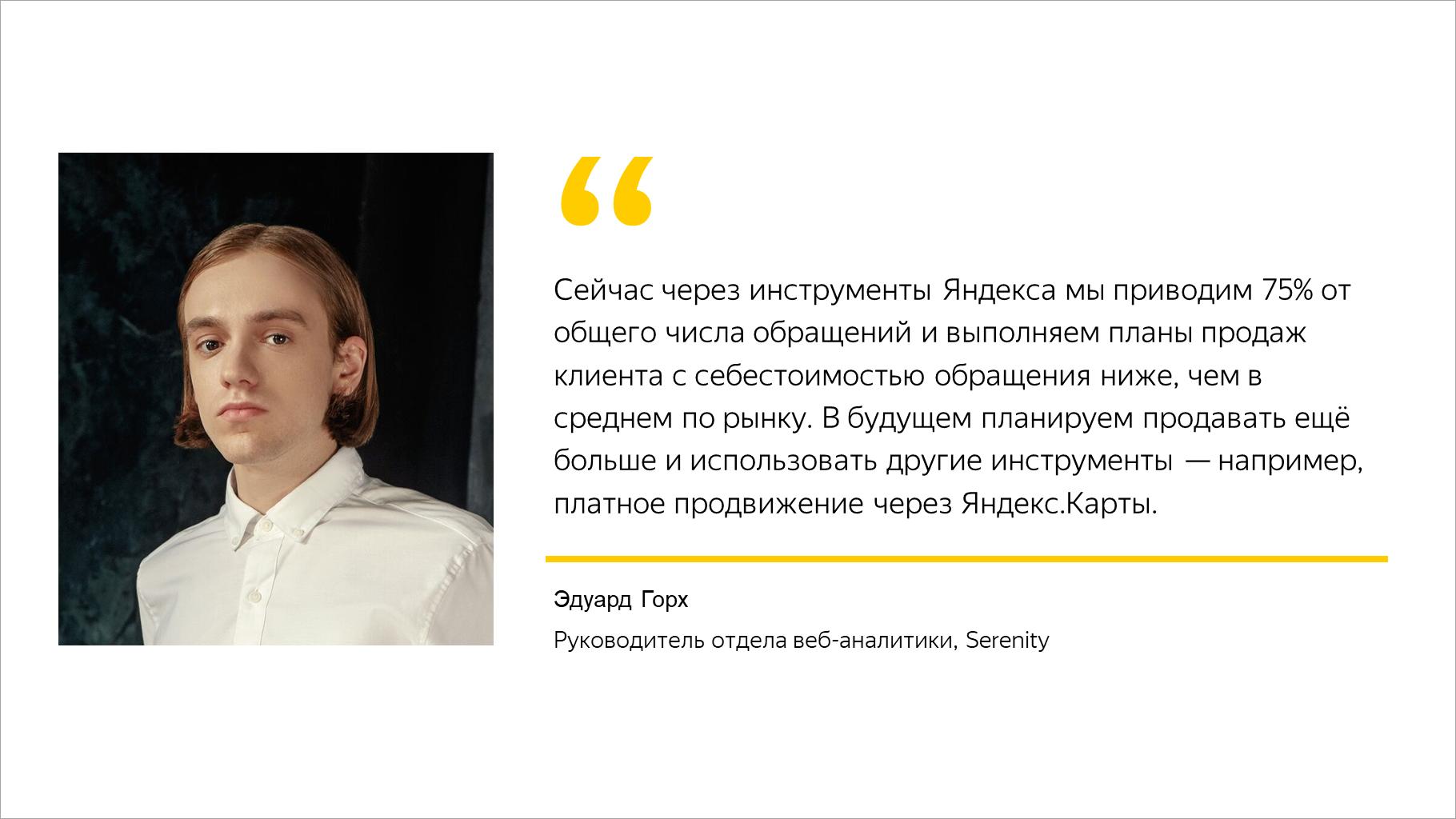Сейчас через инструменты Яндекса мы приводим 75% от общего числа обращений