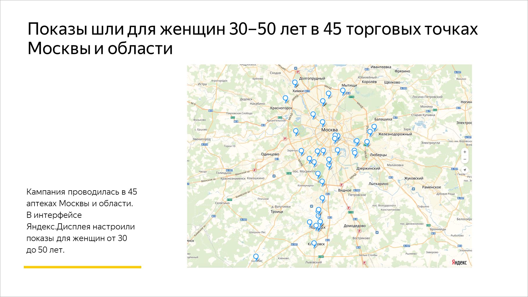 Показы шли для женщин 30–50 лет в 45 торговых точках Москвы и области