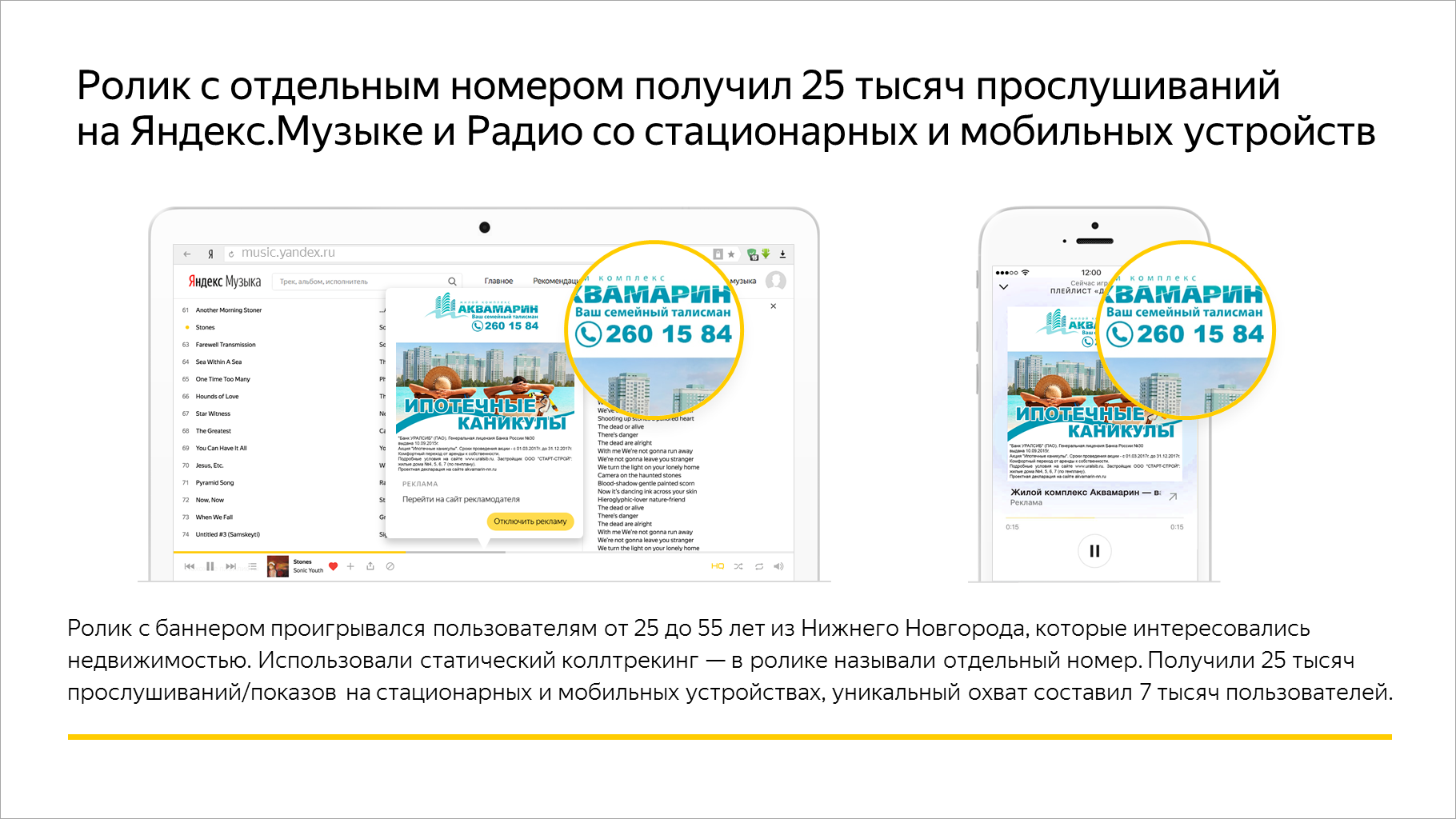 Ролик с отдельным номером получил 25 тысяч прослушиваний на Яндекс.Музыке и Яндекс.Радио со стационарных и мобильных устройств