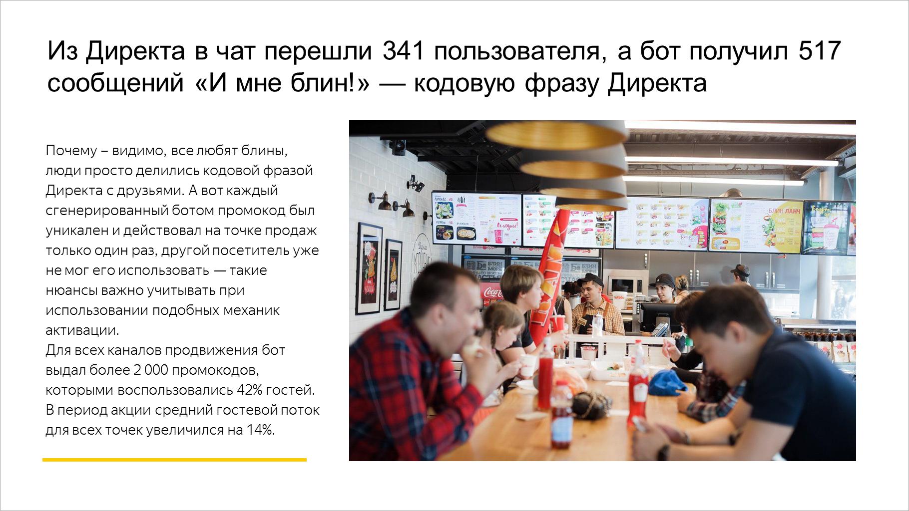 Из Директа в чат перешли 341 пользователя, а бот получил 517 сообщений «И мне блин!» — кодовую фразу Директа