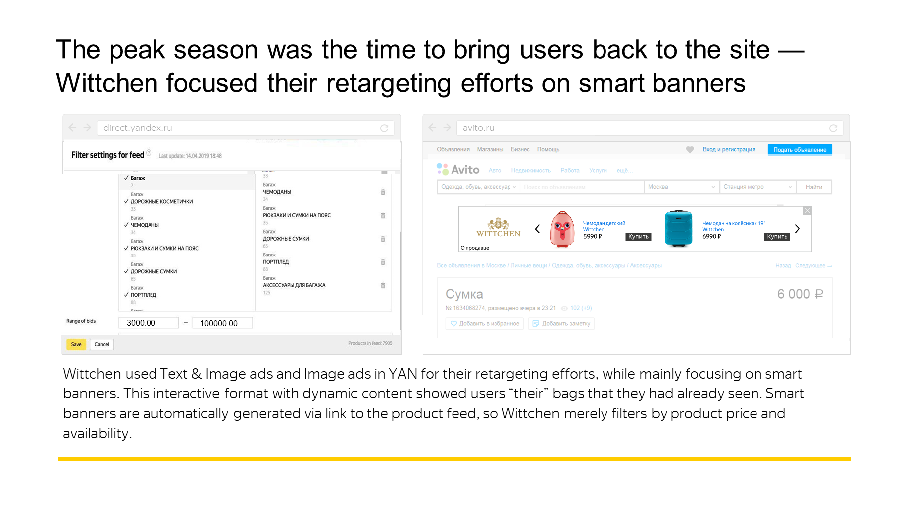 The peak season was the time to bring users back to the site — Wittchen focused their retargeting efforts on smart banners