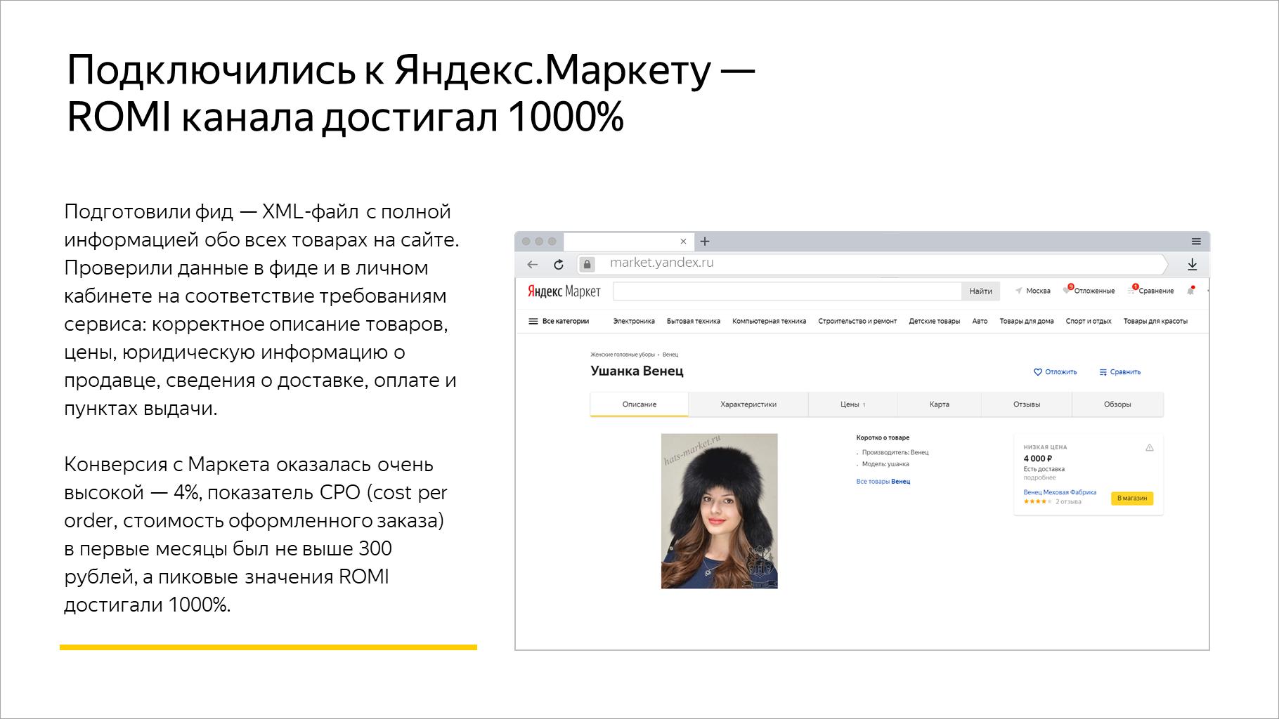 Подключились к Яндекс.Маркету — ROMI канала достигал 1000%
