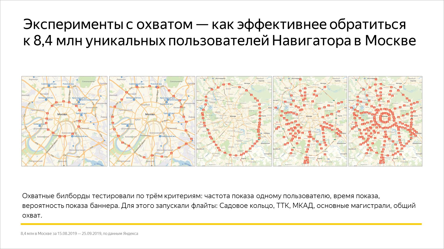 Эксперименты с охватом — как эффективней обратиться к 8,4 млн уникальных пользователей Навигатора в Москве