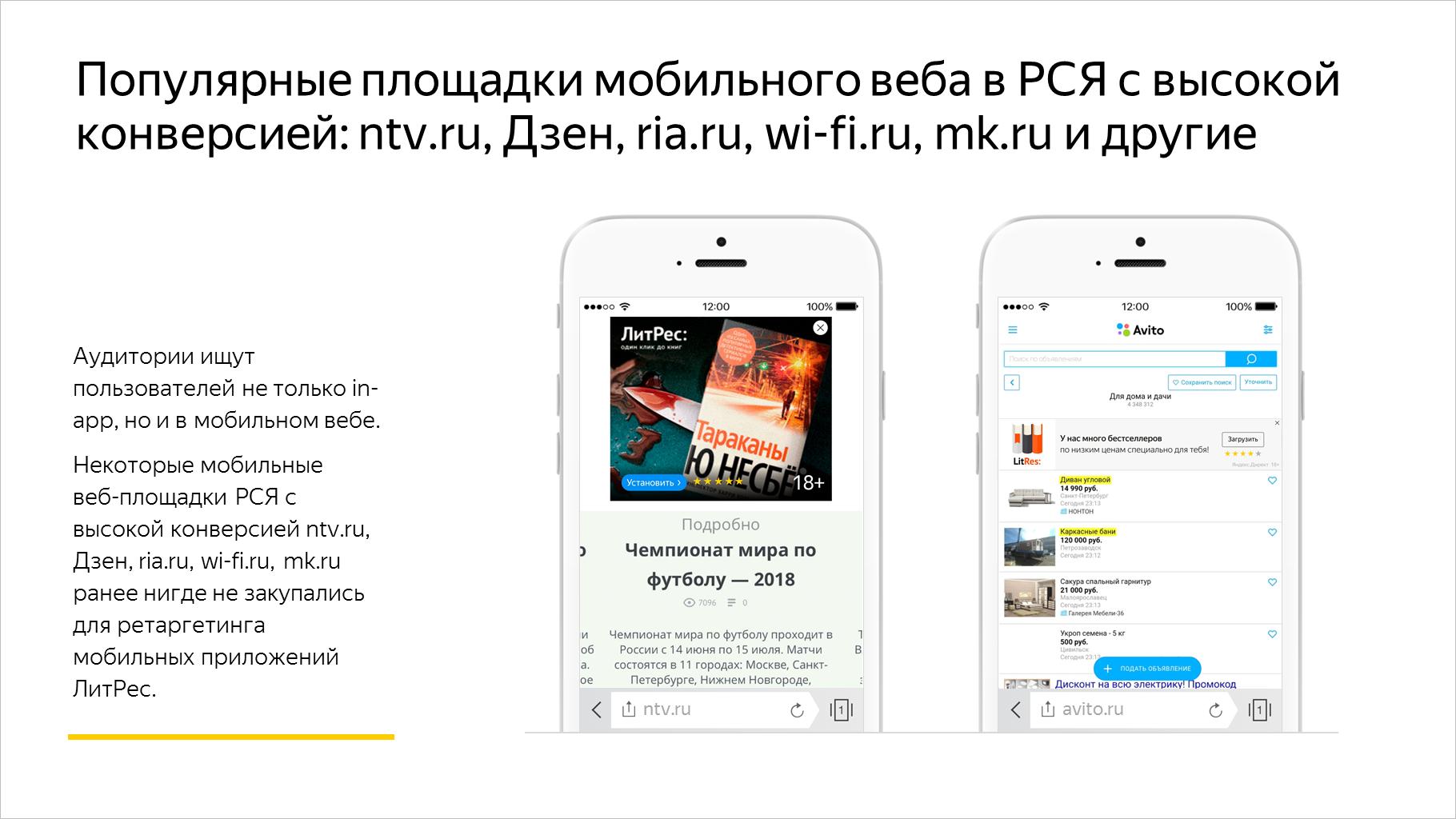 Популярные площадки мобильного веба в РСЯ с высокой конверсией: ntv.ru, Дзен, ria.ru, wi-fi.ru, mk.ru и другие