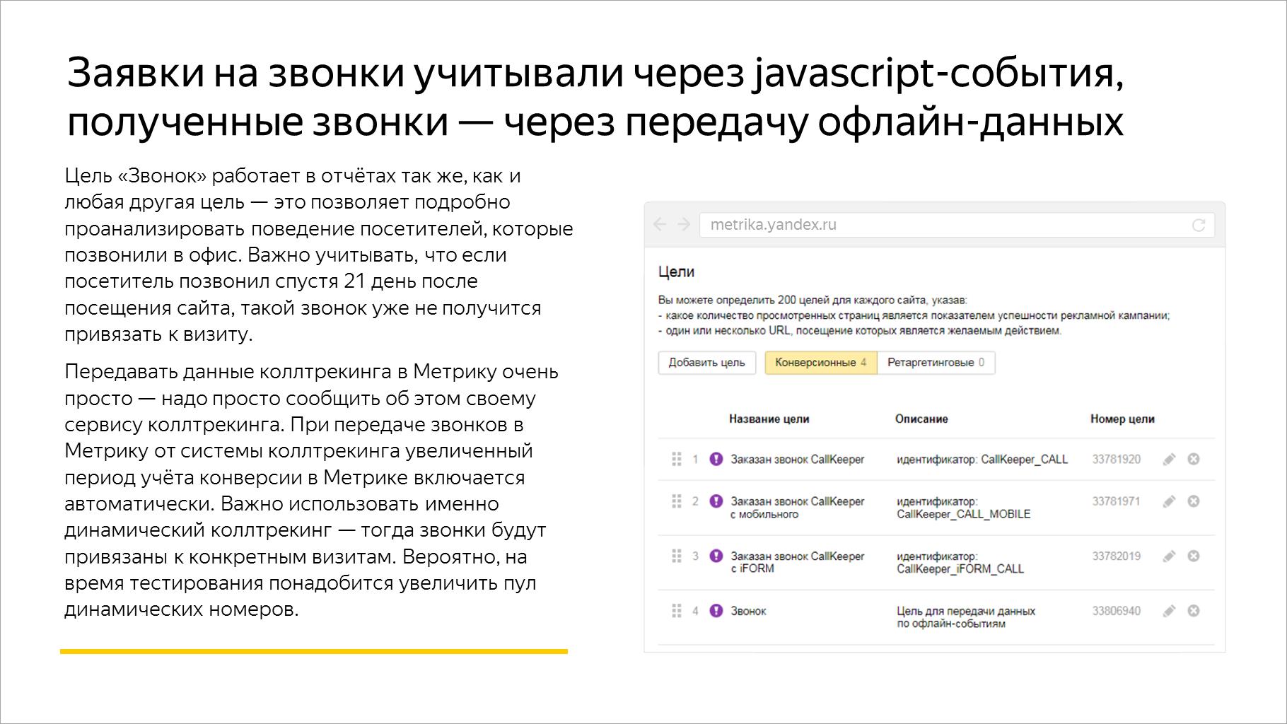 Заявки на звонки учитывали через javascript-события, полученные звонки — через передачу офлайн-данных
