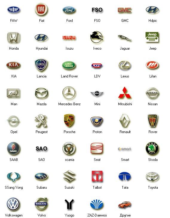 значки автомобилей с названиями на русском фото вызывает сложностей