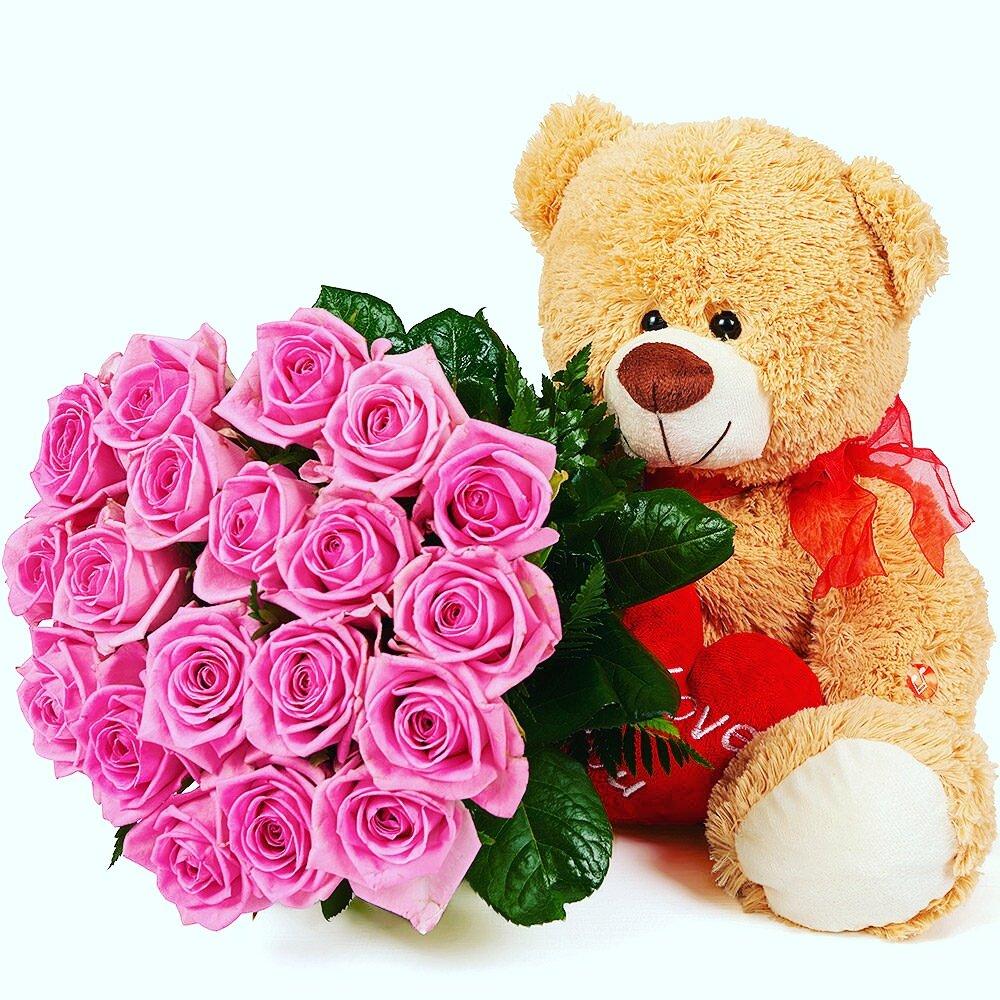 Картинки медвежат с цветами, открытки хорошим днем