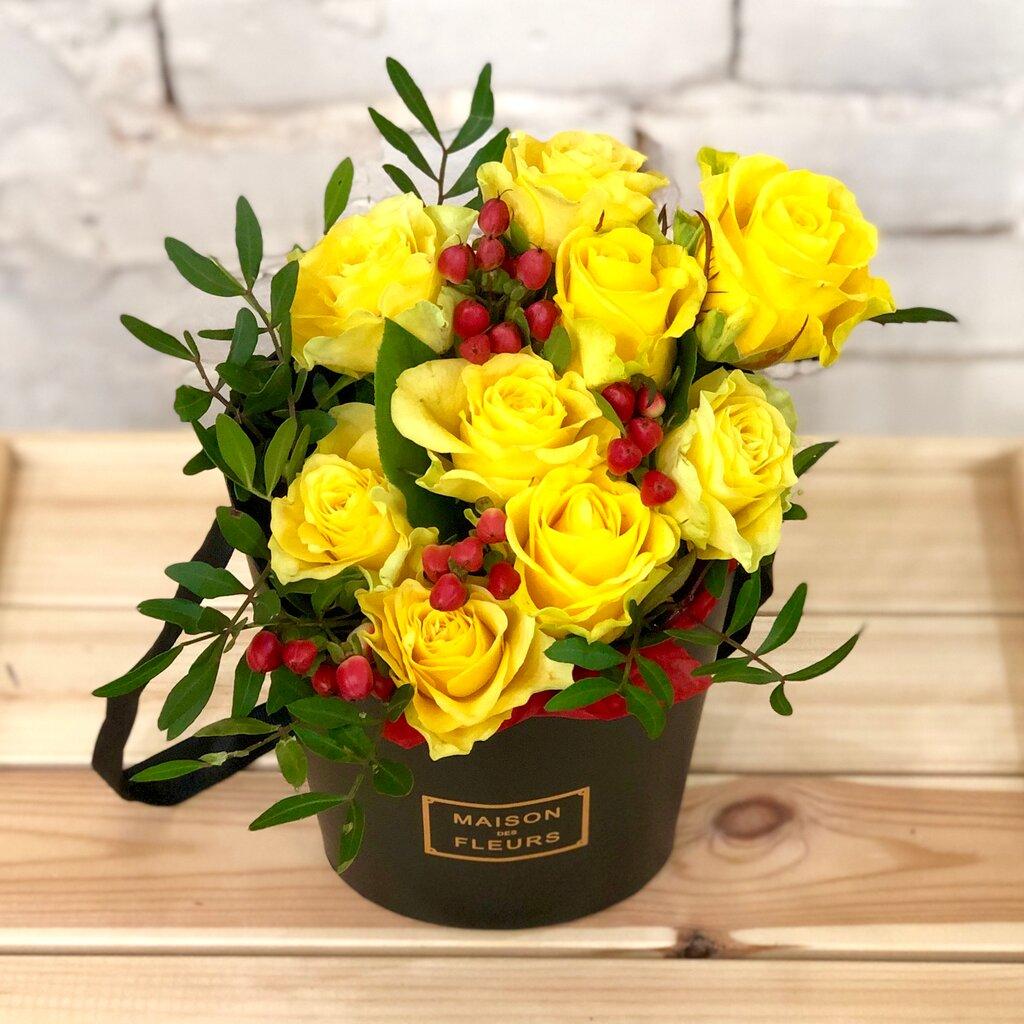 для букет из желтых роз фото в коробке именно