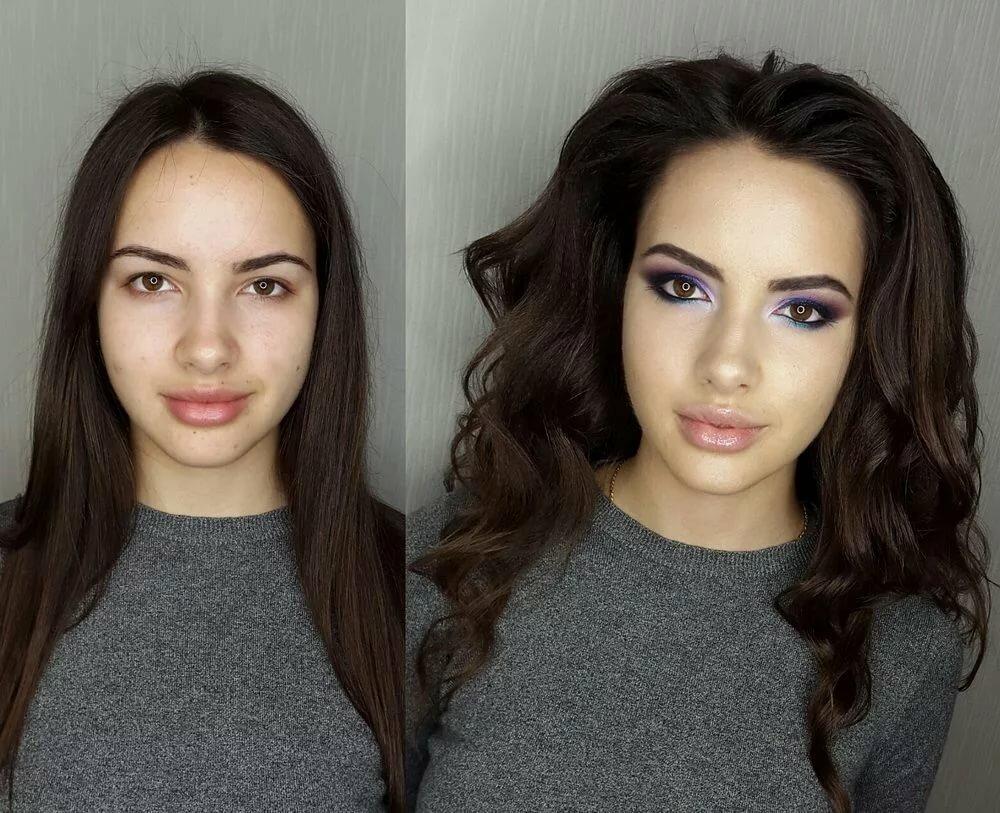сила макияжа фото до и после танцует оленями смайлики