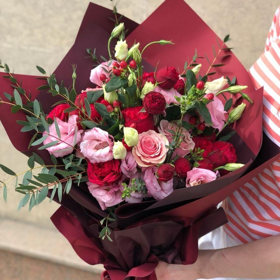 Доставка цветов в городе семей казахстан, лилии эустомы