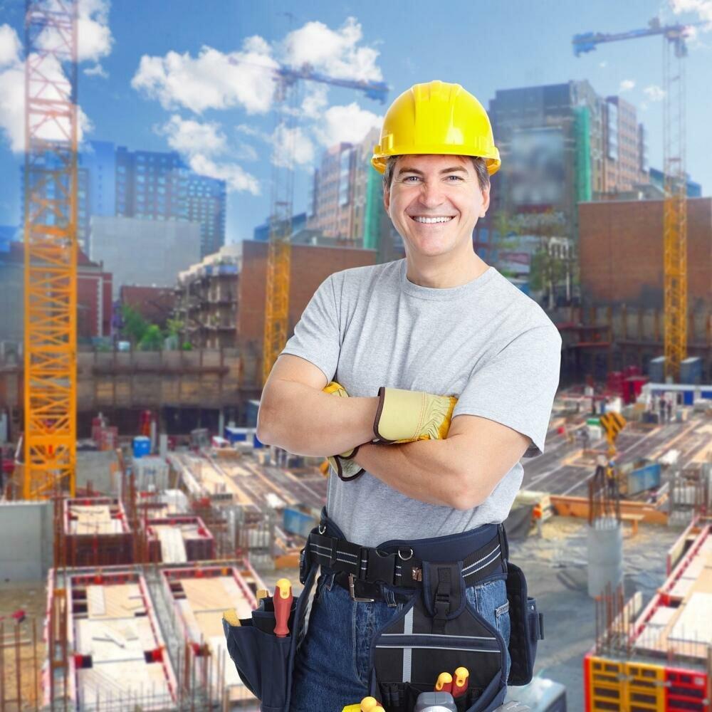Картинка на день строителя с фото сотрудников, надписями