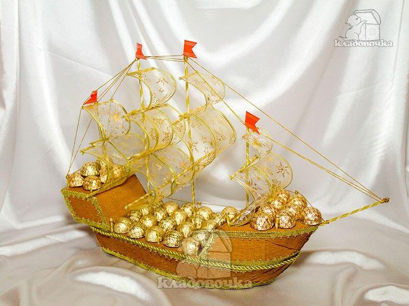 подарочный корабль из конфет своими руками фото хроническом