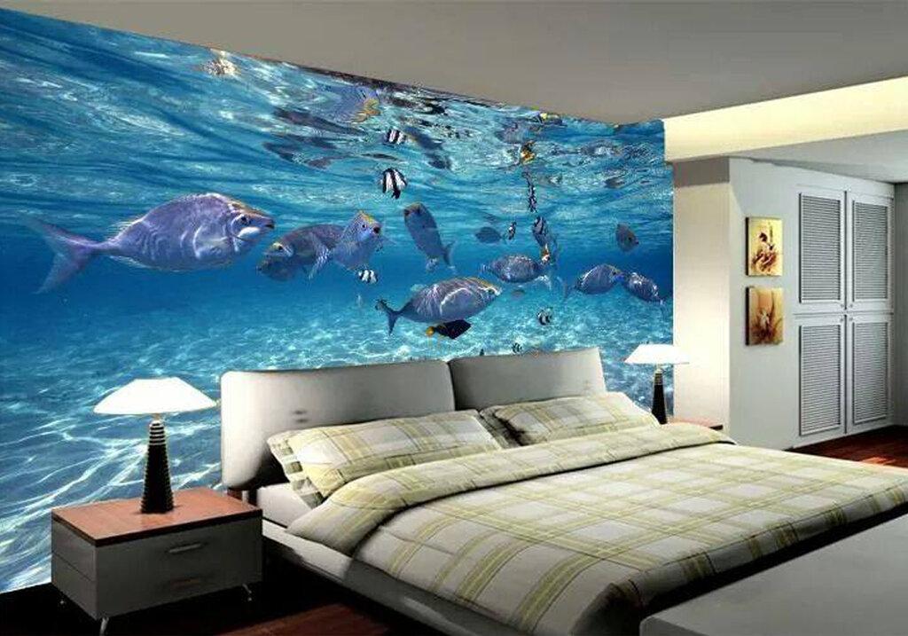 это фотопечать на потолке в спальне морская проводит мальдивах романтический