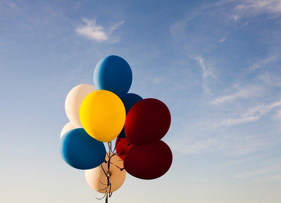 Поздравление, картинка с шариками