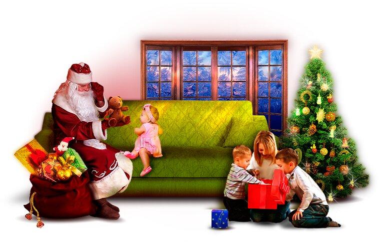 картинка дед мороз пришел к детям сообщения