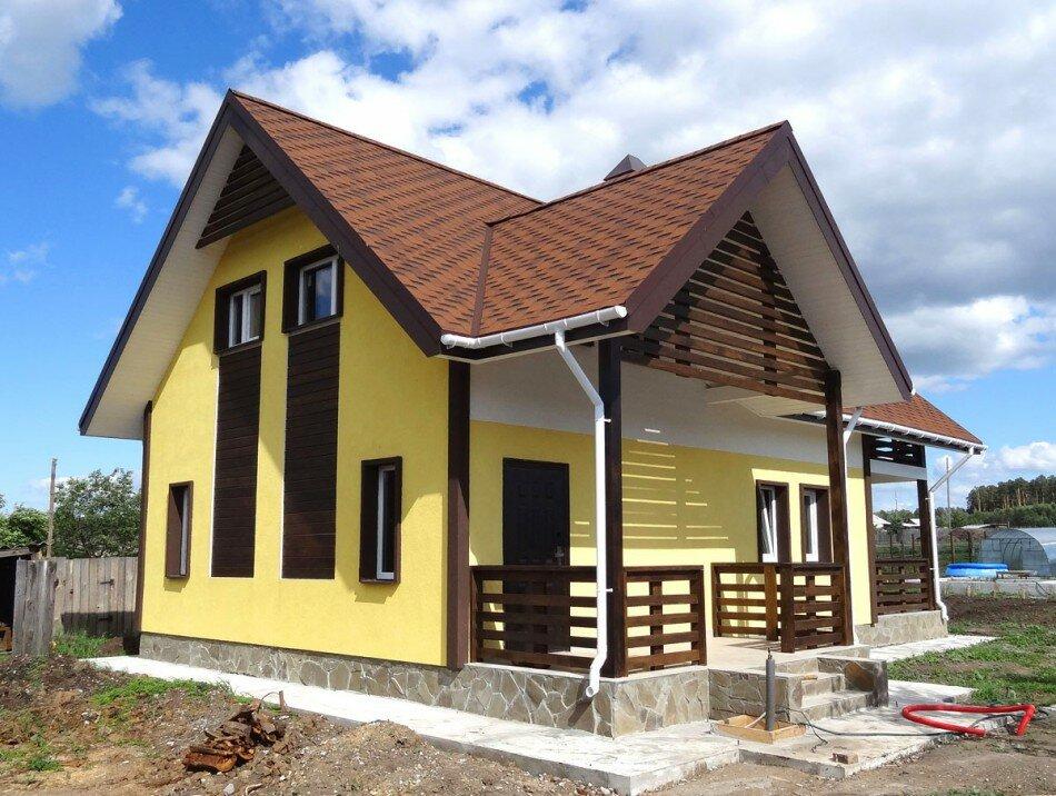 Односкатные крыши частных домов фото деревянный