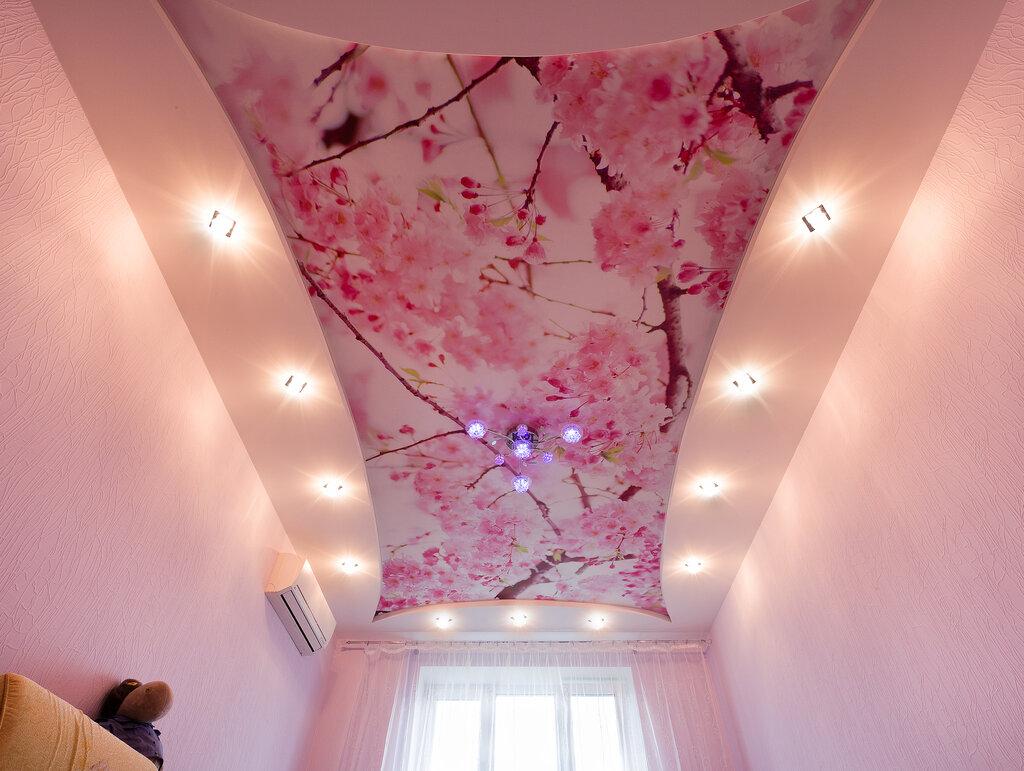 Натяжные потолки расцветки с рисунком фото