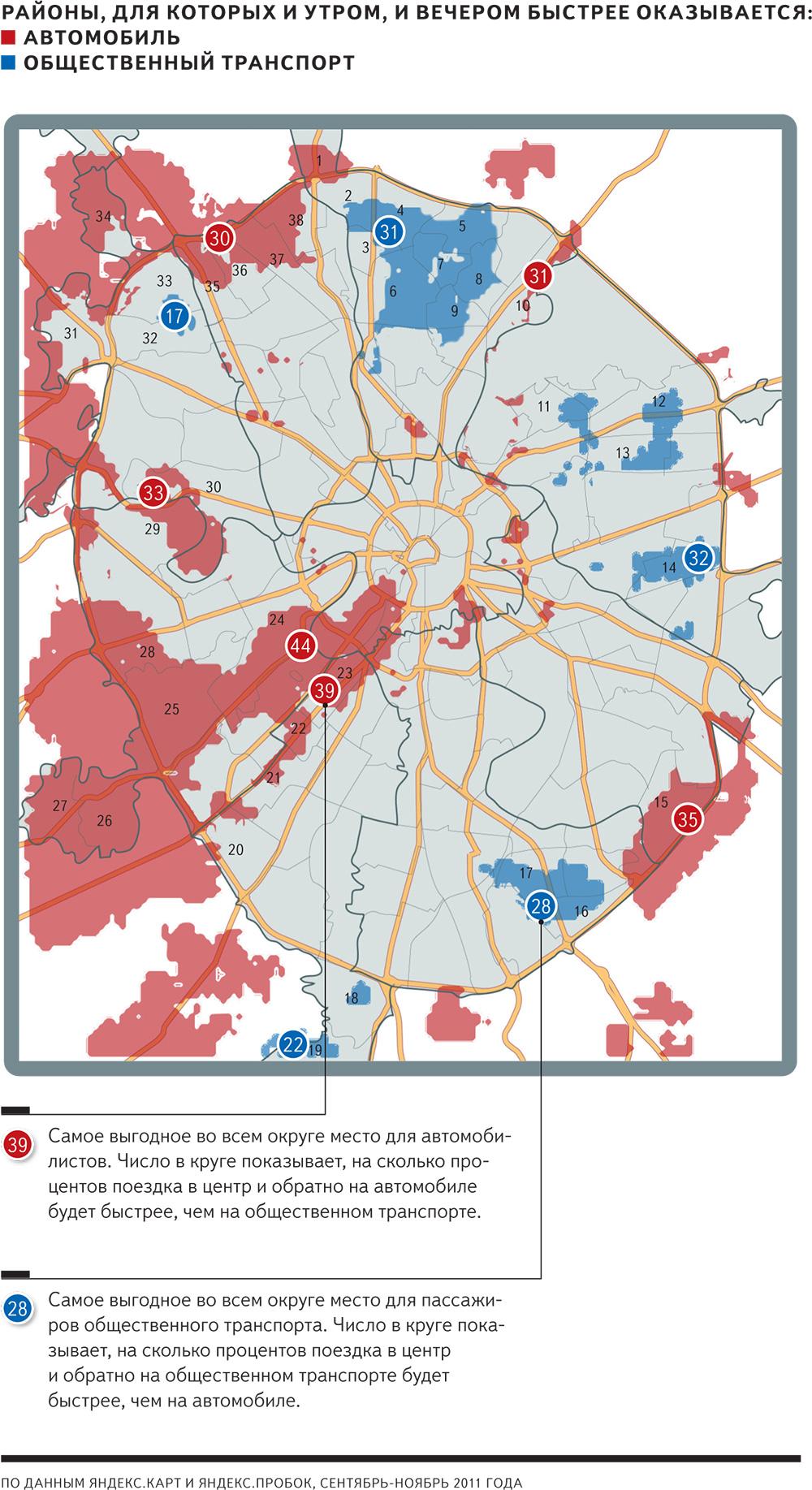 Районы Москвы из которых на общественном транспорте добраться быстрее, чем на автомобиле