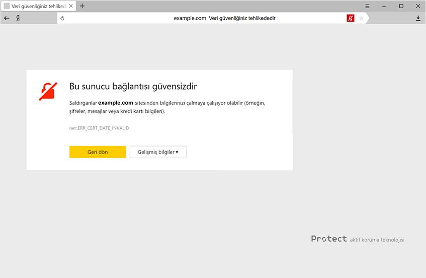 Protect: Korumalı çalışma modu - Yandex Browser